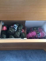Drawer full of left over yarn